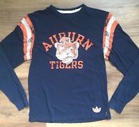 Men's Adidas University of Auburn Tigers Trifoil Long Sleeve T Shirt Medium Navy
