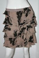 ELIZABETH & JAMES Designer RUFFLED Banded WAIST Skirt 100% SILK L $240