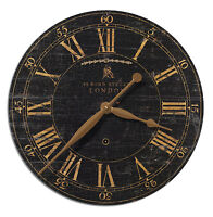 "NEW LARGE BOND STREET18"" WEATHERED CRACKLED BLACK & GOLD ROUND WALL CLOCK"