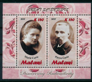 Malawi 2011 MNH SS, Pierre & Marie Nobel Physics, chemistry - illegal stamps