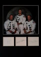 More details for  neil armstrong buzz aldrin michael collins signed autographs display apollo 11