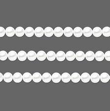 Round Glass Pearls Beads. White 8mm 16 Inch Strand