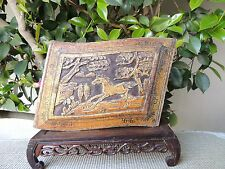 B649 Antique Carved Gold Gilt Wood Panel with Horse and Pine trees