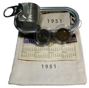Geschenk zum 70. Geburtstag 2x Münzen von 1951 HEIERMANN 5 DM Silber WallaBundu