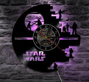 Star Wars Decor Modern Wall Clock Art Gift Han Solo Darth Vader night lights led