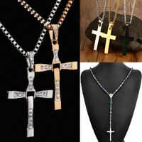 Men's Women's Crystal Cross Necklace Pendant Chain Fashion Unisex Jewelry Gift