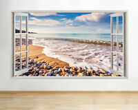 Wall Stickers Beach Sea Ocean Sand Scenic Decal Poster 3D Art Vinyl Room A184