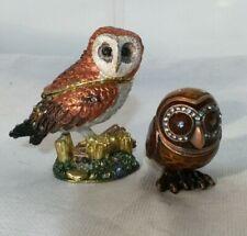2 Bejeweled Enamel Owl Hinged Trinket Box Metal Swarovski Crystals