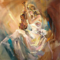 Modern Hand-Painted The Girl Playing The Violin Oil Painting People Canvas Decor