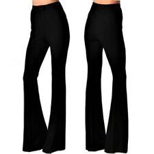 Vintage Inspired High Waist Mom Bell Bottom Flare Polyester Trouser Dress Pant,4