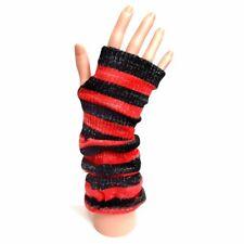 Knitted Long Fingerless Gloves - Red/Black Stripe Sparkle - Winter Christmas