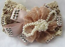 Girls Lace Pearl Bead glittery Sparkly Lurex Ribbon Bow Hair Clips Bow Beak Clip