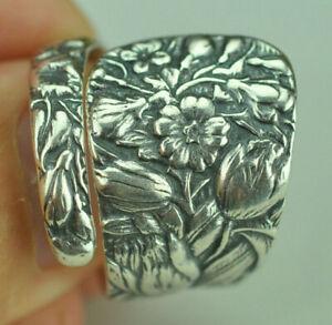 Beautiful 925 Sterling Silver Iris Flower Spoon Ring
