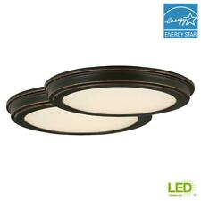 Flush Mount Lighting 13 in. Dimmable Dry Rated Oil Rubbed Bronze (2-Pack)