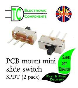 PCB mount mini slide switch SPDT (SS-12D00G3) 2 Position -2 pack  **UK SELLER**