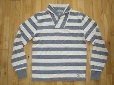 Gant Shawl Collar Neck Heavy Long Sleeve Shirt Top Rugby Striped Grey M New