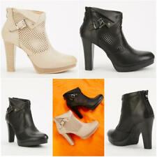 Señoras Mujeres Cowboy Biker Tobillo Bloque Talón Chelsea Plataforma Botas Zapatos Talla
