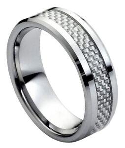 Tungsten Carbide Black Blue Carbon Fiber Ring Men Engagement Wedding Band Silver
