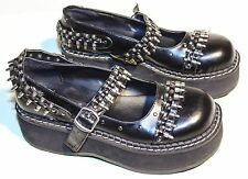 "New DEMONIA EMILY-309 2"" Platform Goth Punk Military Shoes Wedges size 10"