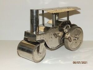 LINDSTROM ANTIQUE STEAM ROLLER WIND-UP NICKEL PLATED TIN - WORKS GREAT