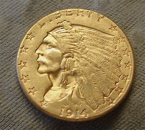 Liberty Gold---$2-1/2 Dollar Coin--1914-D-----Quarter Gold Eagle--Nice***