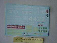 SET DE 1 PLANCHE DECALQUES BRIGADE MARINS POMPIERS DE MARSEILLE ALERTE 1/43