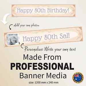 60th 70th 80th Birthday CANVAS Party Banner  Personalised Decorations Supplies