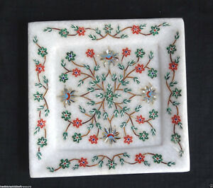 "5"" Marble Exclusive Cheese Tray Turquoise Handmade PietraDura Kitchen Decor Gift"