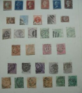 GREAT BRITAIN QUEEN VICTORIA 32 STAMPS PAGE FROM AN ALBUM