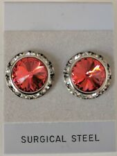 Padparadcha Pierced Earrings with horse show numbermagnets Swarovski Crystals