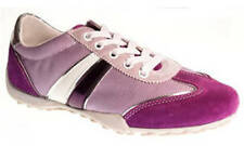 Ladies Lace Up Trainers Geox D0112B Fuchsia Suede & Textile EU Size 40