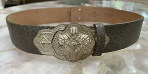 Etro Grey Pebbled Leather Waist Belt W/ Silver Carved Buckle