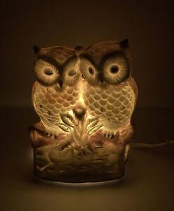 Vintage Porcelain Twin Owl lamp Nightlight - Hand Painted