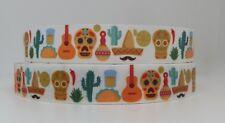 Adorable Mexican Colourful Skull 22mm Grosgrain Ribbon per metre