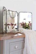Jeanne d Arc Living Spiegel silber Shabby Metall 3 Felder Kosmetik Wandspiegel