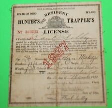 Antique Rare 1927 Resident Ohio Hunting and Trappers License  -  #8 - Cloth Back