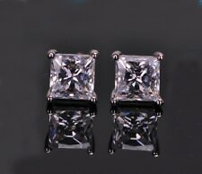 Unisex 18k white gold GP princess cut square AAA zircon CZ earrings studs E540a