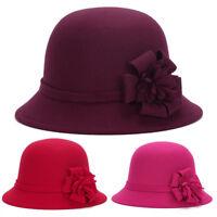 EG_ Lady Womens Wide Brim Wool felt Hat Floppy Felt Bowler Fedora Cloche Cap Qua