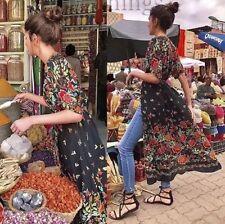 ZARA Floral Printed Kimono Caftan Blouson dress robe blumenprint fleurs size L