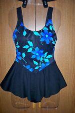 Vintage Women's BEACH CABANA black floral one piece skirted swimdress size  8/10