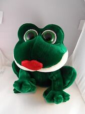 """Russ Berrie  Velvety Green Animated Frog """"Smooches"""" Makes Kissing Sounds 11""""x11"""""""