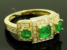 s R181 Genuine 18K Yellow Gold Natural EMERALD & DIAMOND Trilogy Ring size 9.5
