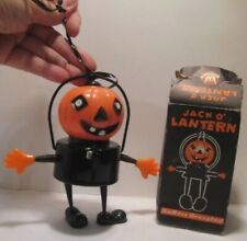 Old Battery Operated Celluloid Halloween Jack O Lantern w/ Springy Arms w/ BOX