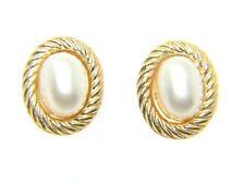 Donne 9kt 9 Carati Oro Giallo Perle Finte Orecchini A Perno