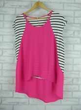 WITCHERY Top Sz M, 12 Pink, Black, White Stripe