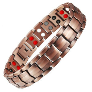 Mens Pure Copper 4-In-1 Powerful Elements Magnets Therapy Bracelet Energy Bangle
