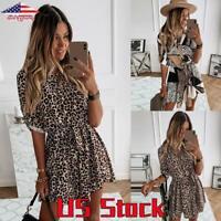 Womens Leopard Print Ruffle Mini Dress Long Sleeve Button V Neck Shirt Dress US