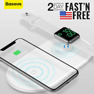 Baseus 2in1 Fast Wireless Charger Pad For iPhone Apple Watch Samsung Smart Phone