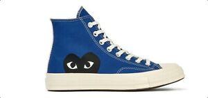 CONVERSE X COMME DES GARCONS PLAY Chuck Taylor '70 HI Blue unisex Shoes 3-12