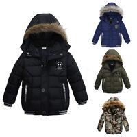 Kids Baby Boys Hooded Winter Warm Coat Outerwear Toddler Jacket Windbreaker Coat